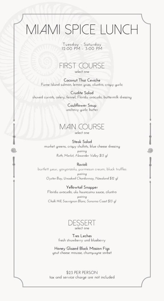 Seaspice Miami Spice Menu Dinner