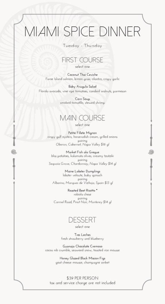 Seaspice Miami Spice Menu Lunch