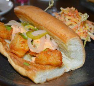 Beaker and Gray Tempura Grouper Sandwich