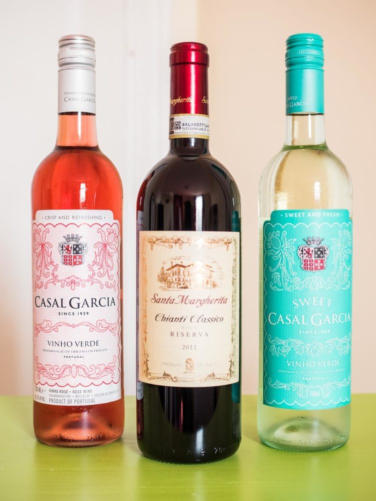 casal garcia and santa margherita wine bottles