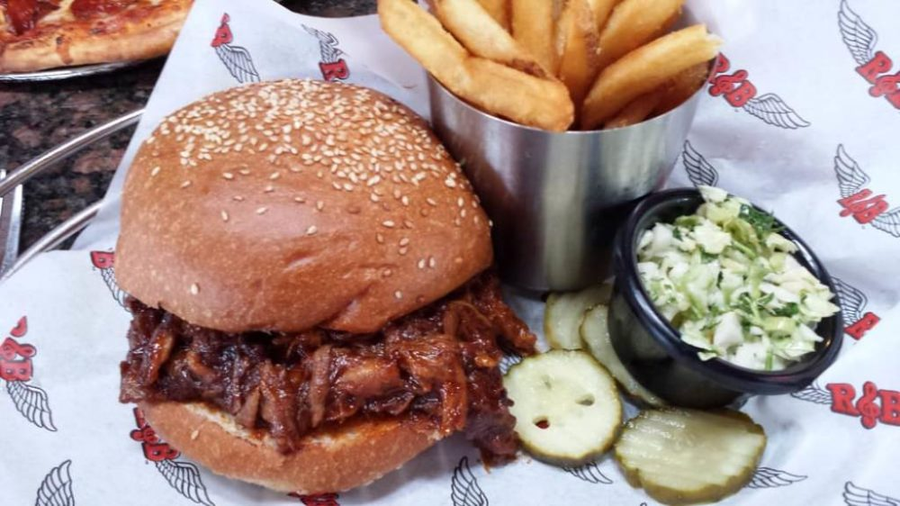Rock and Brews Pulled Pork Sandwich