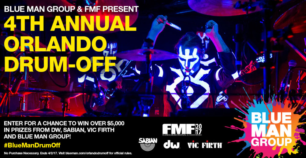 Blue Man Group Orlando Announces Fourth Annual Drum-Off in Partnership with Florida Music Festival